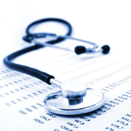 stethoscope and scientific medical data showing research\ concept