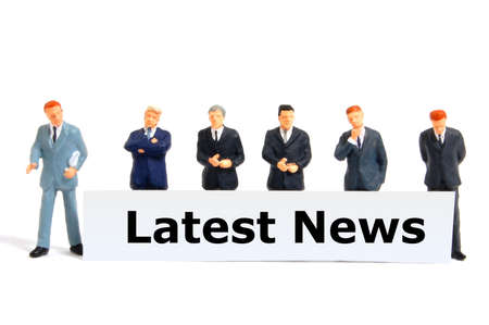 latest news concept with small business man isolated on white background photo