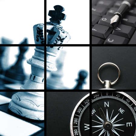 contabilidad: concepto de mostrar de collage de negocio de finanzas y de �xito Foto de archivo
