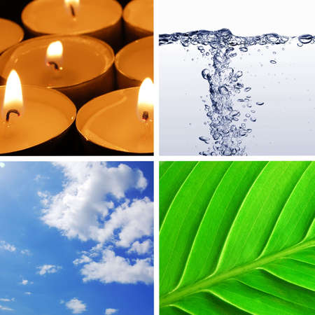 four basic elements of nature with eart, water, wind and fire Stock Photo - 6007793