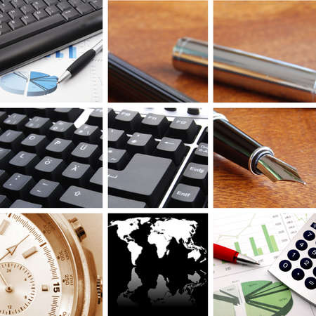 collection or collage of finance or business images Stock Photo