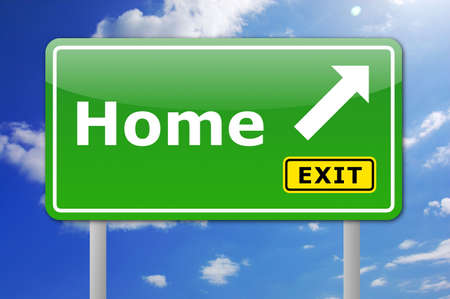 shortest: shortest way to your home estate shown by roadsign Stock Photo