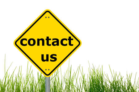 contact info: contact us concept with a traffic marker in yellow
