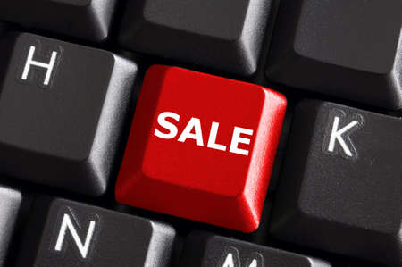sale business or ecommerce concept with red keyboard  photo
