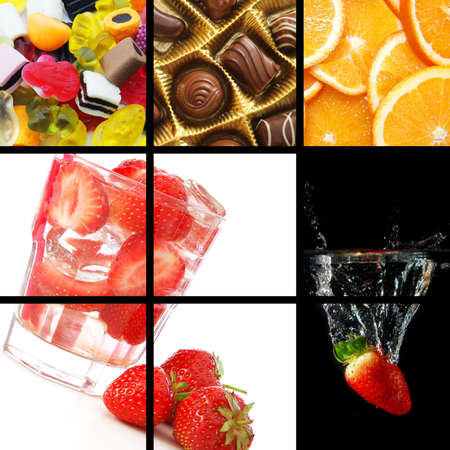 food and drink collage or collection showing healthy lifestyle Stock Photo - 6142362