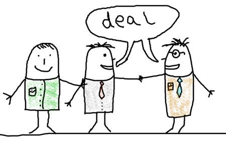 hired: business man illustration with handshake showing contract illustration Stock Photo