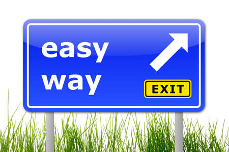 the easy way concept with traffic sign in blue photo
