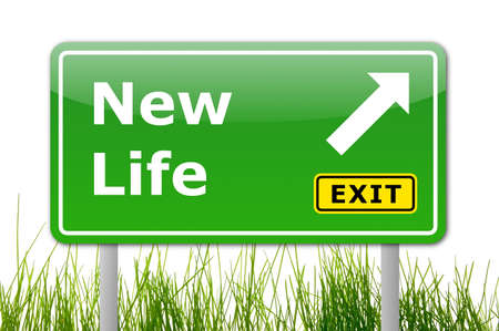 life success: new life concept with road sign showing a change  Stock Photo