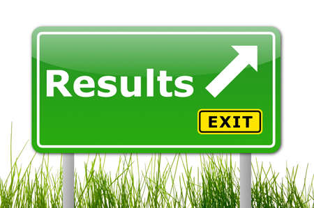 business results: business results concept with road sign illustration