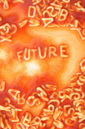 future forecast concept with red past alphabet Stock Photo - 6142357