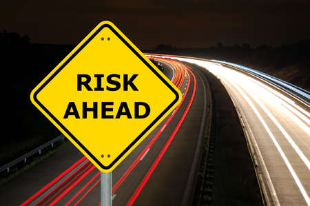 risk ahead sign showing business concept with copyspace Stock Photo - 6142232