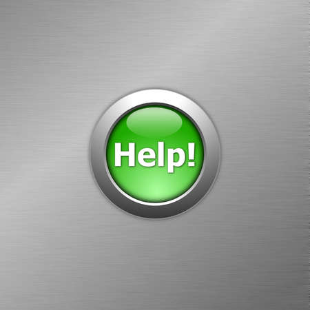 green help button on metal a texture photo
