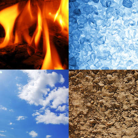 four elements: the four elements earth wind water and fire Stock Photo