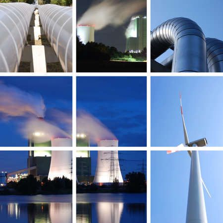 gas turbine: power supply collage with plant and windturbine Stock Photo