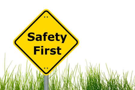 se�ales de seguridad: se�al amarilla con seguridad primero como concepto de ayuda