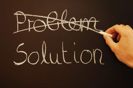 solution for a problem written on a chalk or black board Stock Photo - 6174869