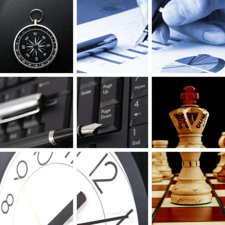 gestion del tiempo: Collage con �xito empresarial y im�genes financieros
