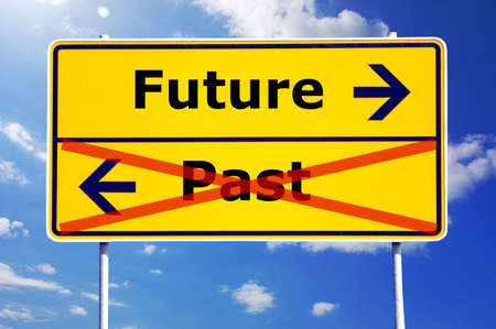 future and past concept with yellow road sign Stock Photo - 6198914