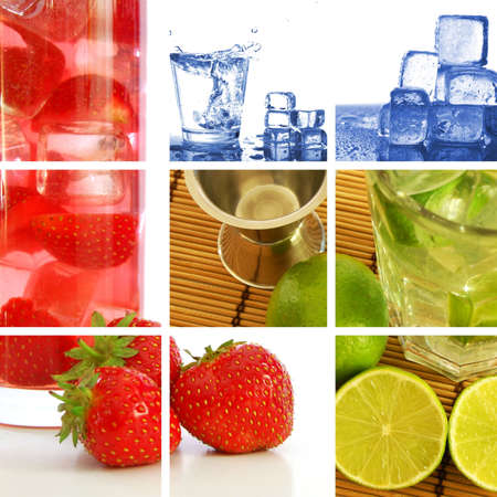 refreshment: food and drink concept with collage or collection Stock Photo