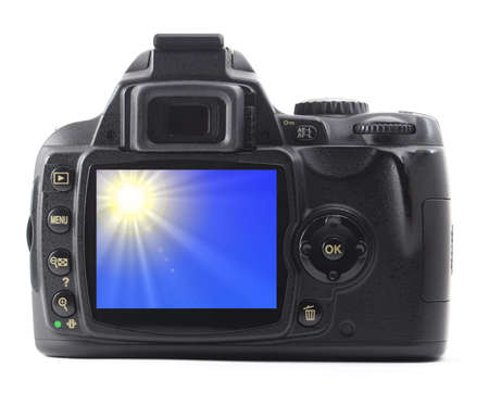 digicam: holiday sky in digicam or dslr isolated on white background                                     Stock Photo