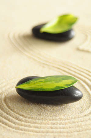 zen stone spa or wellness concept with sand  Stock Photo
