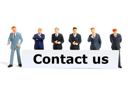contact us concept with business  team isolated on white background photo