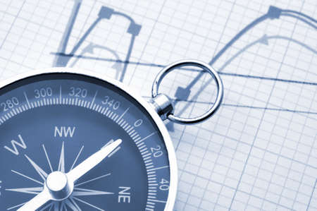 financial guidance: macro of old compass with blank copyspace for text message Stock Photo