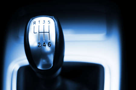 levers: sports car gear shift stick with copyspace for text message Stock Photo