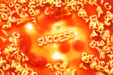 business success concept with red pasta snack Stock Photo - 6306589