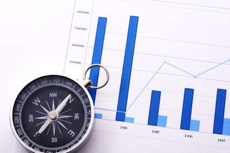 financial guidance: business concept with compass and diagram or chart