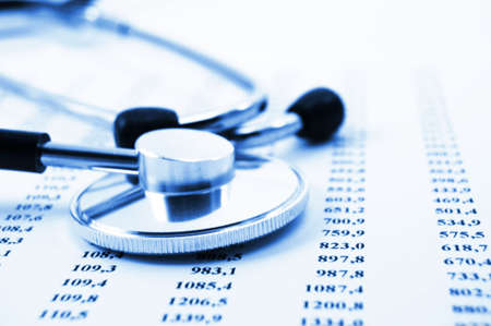 health information: stethoscope and scientific medical data showing research concept