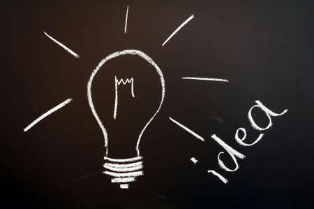 bulb on chalkboard showing idea creativity and innovation Stock Photo - 6481041