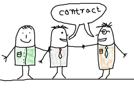 business man illustration with handshake showing contract illustration Stock Illustration - 6480789