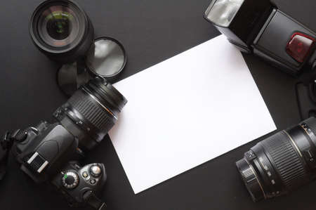 dslr camera: photography concept with dslr camera lense and copyspace Stock Photo