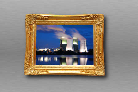picture of industry at night in image frame on a wall Stock Photo - 6481046