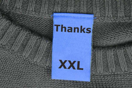 extra large: word thanks in fahsion label showing thank you concept Stock Photo
