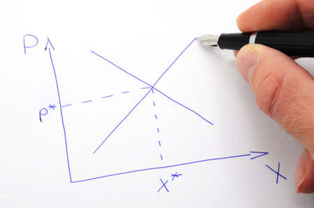 market economics concept with cross of supply and demand curve Stock Photo - 6565547