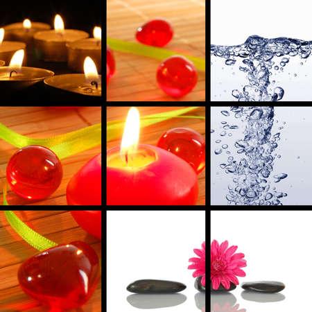 collage spa: collage de Spa o colecci�n con piedras im�genes de vela y el agua