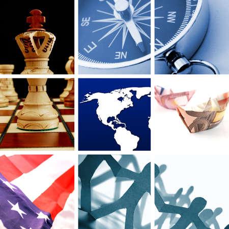 investment solutions: colecci�n o collage de im�genes de finanzas o negocios Foto de archivo