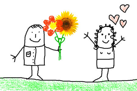 illustration of love concept with flower and figure illustration