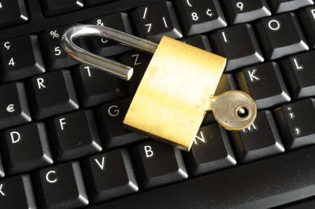 secure online banking or internet firewall concept with padlock and keyboard Stock Photo - 6651858