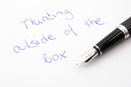 think outside of the box concept with pen and paper Stock Photo - 6651762