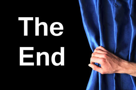 the end and curtain showing movie cinema or theater concept