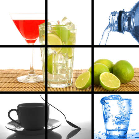 food and drink concept with collage or collection Stock Photo