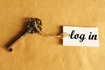 log in internet concept with key and label Stock Photo