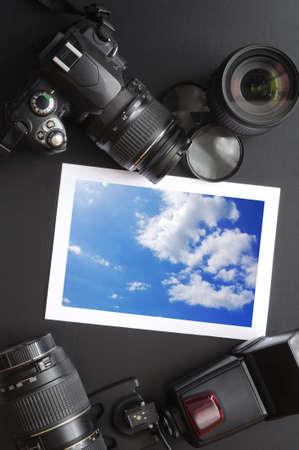 dslr camera: dslr camera lens and image on black background
