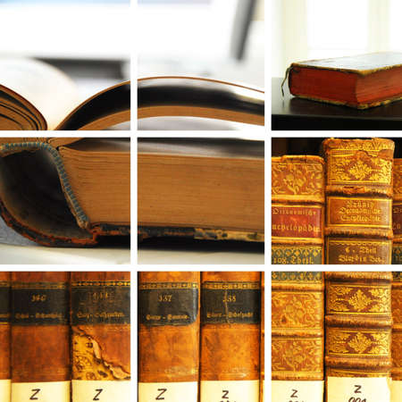 library collage with books showing education concept photo