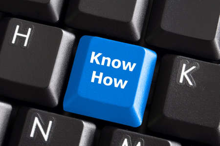know how: know how knowledge or education concept with button on computer keyboard