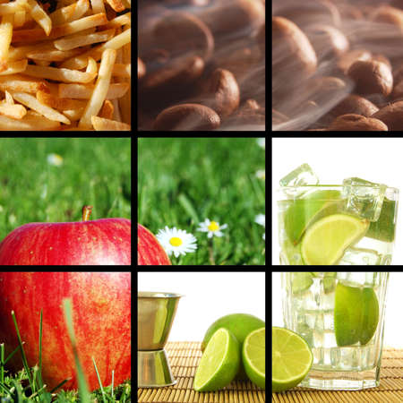 food and drink collage or collection showing healthy lifestyle photo