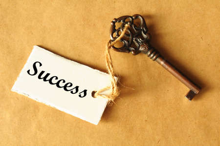 key to success: old key to success concept with label or tag